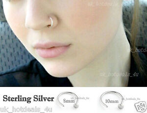 UK Silver Nose Ring Hoop 7mm Extra Small 0.6mm Thin Piercing Stud Body Jewellery