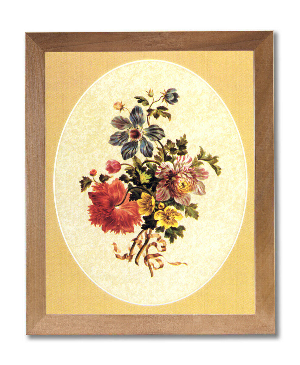Victorian Flowers Floral Wall Picture Honey Framed Art Print