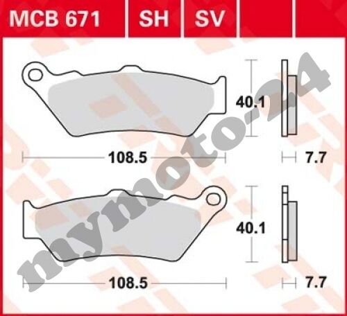 Bremsbelag Yamaha DT125 X Supermotard DE06 Bj 2012 TRW Lucas MCB671SV