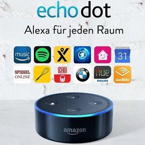 amazon echo dot german version 2 gen black alexa new ebay. Black Bedroom Furniture Sets. Home Design Ideas