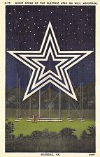 Postcard VA Roanoke Night Scene Electric Star Mill Mountain Star City South PC