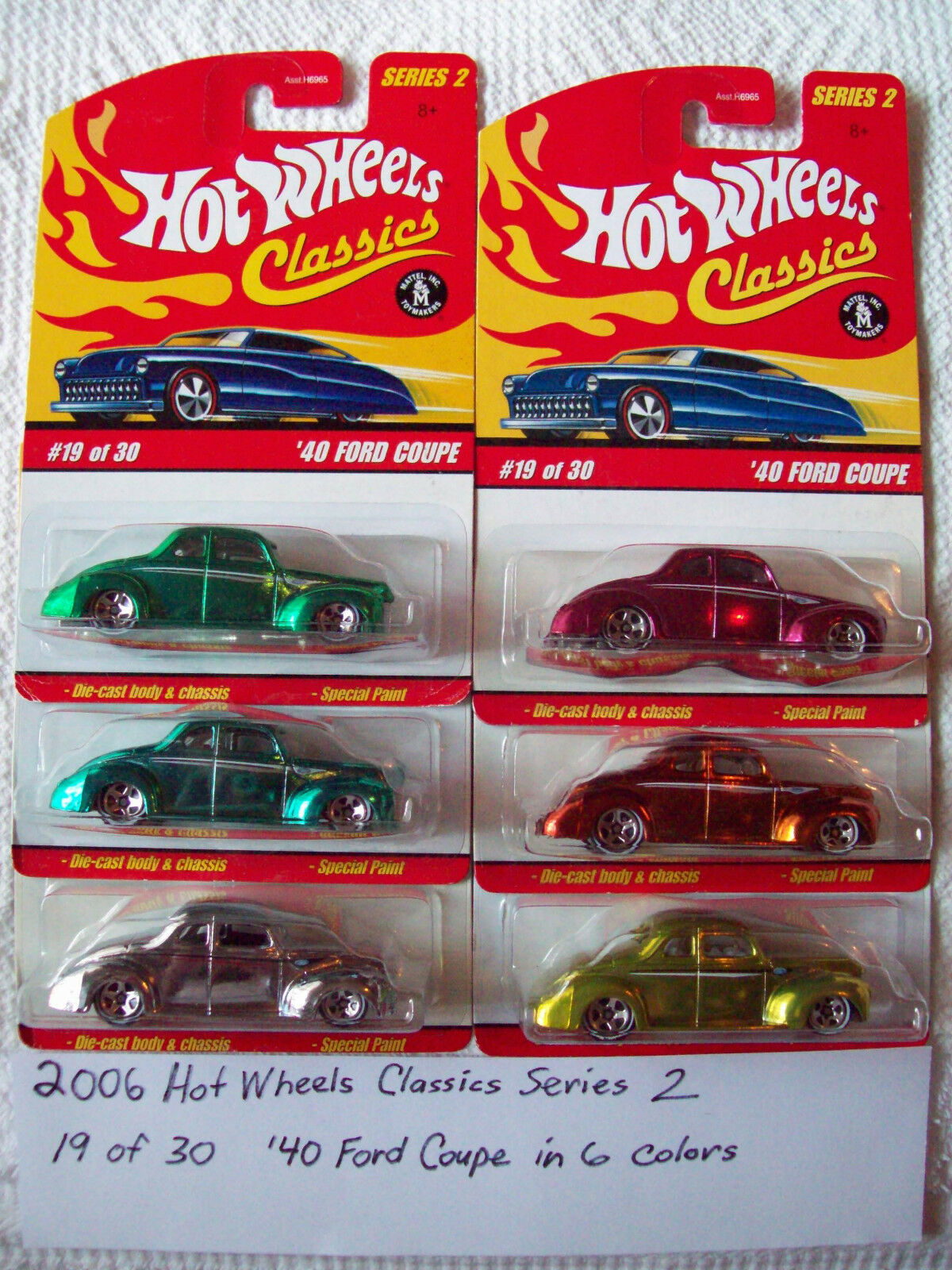 2006 Hot Wheels Classics Series 2  '40 Ford Coupe Cars in all 6 available colors