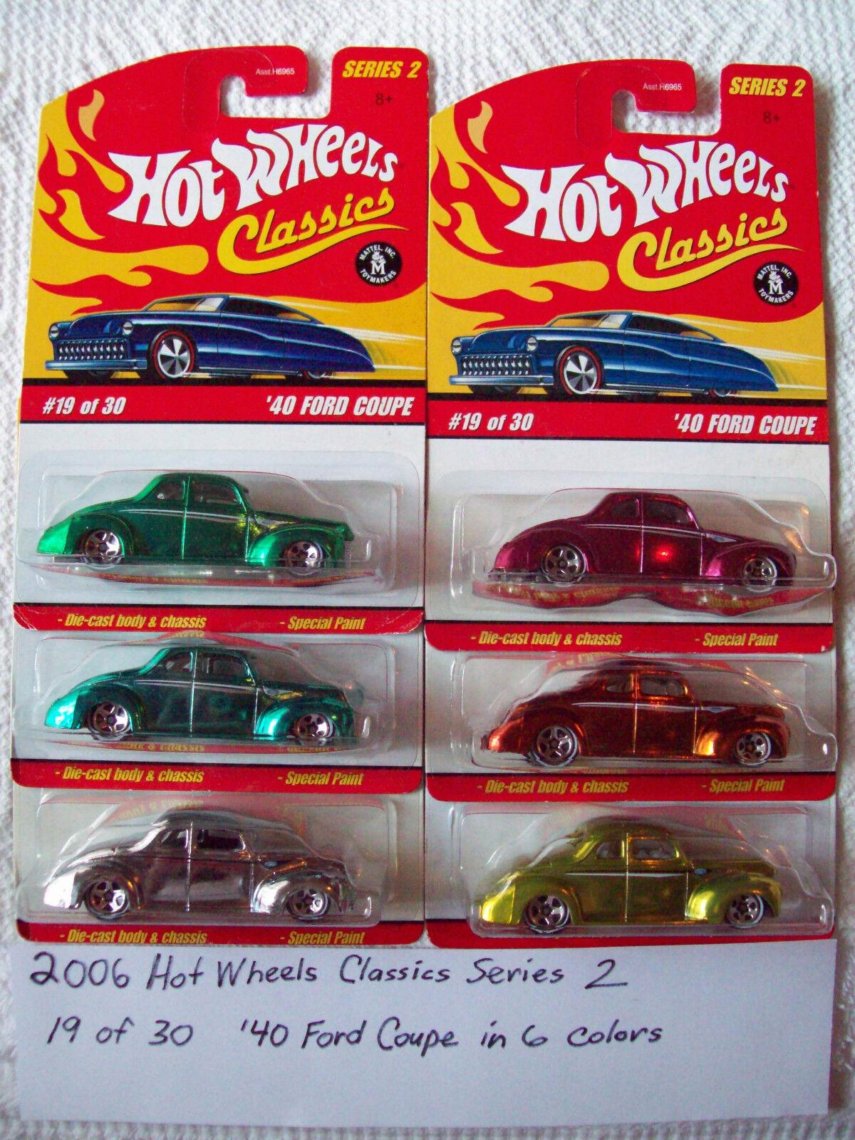 2006 hot wheels - klassiker - reihe 2 40 ford coupé autos in allen sechs verfügbaren farben