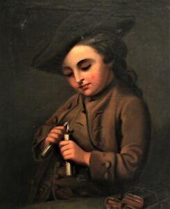 *3087* HST portrait jeune homme marin à la tricorne 19eme siècle rentoilée