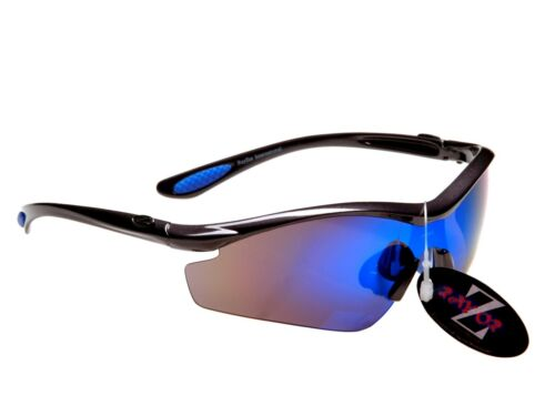 RayZor Uv400 Sports Wrap Sunglasses GunMetal Grey Blue Mirrored Lens RRP£49 612