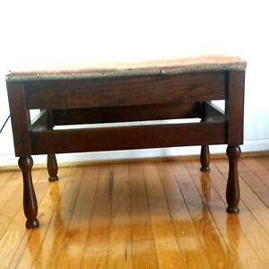 Cool Details About Antique Padded Vanity Bench Furniture Piano Stool Chair Ottoman Dark Wood Pdpeps Interior Chair Design Pdpepsorg