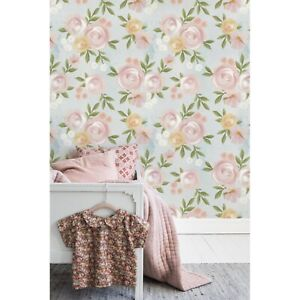 Details About Shabby Rose Vintage Removable Wallpaper Watercolor Floral Nursery Peel And Stick