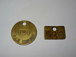 Pair-Of-Brass-Miners-Lamp-Pay-Check-Pit-Tally-Token-Warsop-Colliery-980