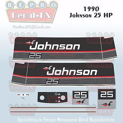 1987-88 Johnson 20 HP Sea-Horse Outboard Reproduction 11 Pc Marine Vinyl Decals