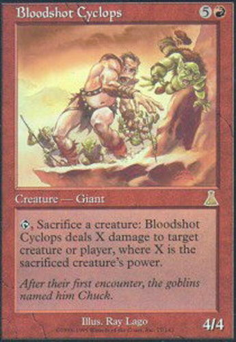 English Foil x1 MTG Magic Urza/'s Destiny Lightly Played Bloodshot Cyclops