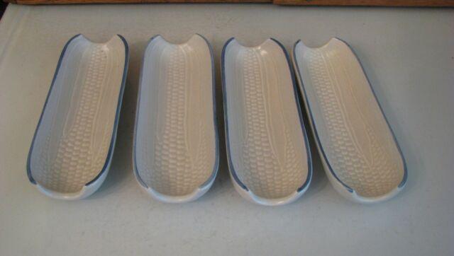 Pfaltzgraff Yorktowne Corn on the Cob Holders Set of 4 Dishes USA Holder