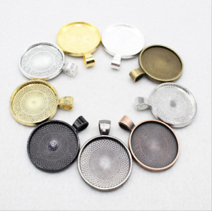6-18pcs Round Pendant Trays, Fit 25mm Cabochon Base Setting, Blank Bezel Frame