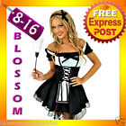 B91 French Maid Ladies Outfit Fancy Party Dress Up Costume Bucks Hens Uniform