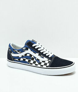 Details about Vans Old Skool Checkerboard Flame Navy White Skate Shoes Mens  Checker