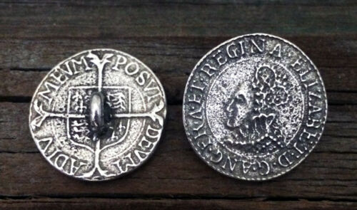 2 Elizabethan Shilling Coin Pewter Shank Buttons 1 Inch 25 mm #0714