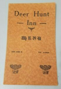 Deer Hunt Inn MENU Vintage 1940s 20222 John R ST Detroit Michigan