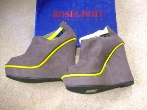 BNIB Roselight grey yellow wedge platform heels size 40 7 suede shoes new