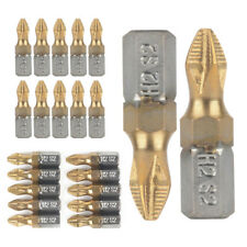 "10pcs 25mm 1/4"" Shank Titanium Coated Anti Slip PH2 Screwdriver Bits Drill Bit"