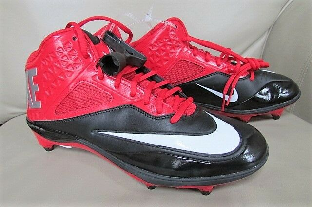 Nike Lunar Code Pro 3/4 D Men's Black RED Football Shoes Cleats-sz 10.5 NEW
