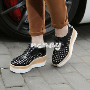 Punk-Women-Wedge-Mid-Heel-Mesh-Lace-Up-Oxford-Flat-Platform-Casual-Creeper-Shoes