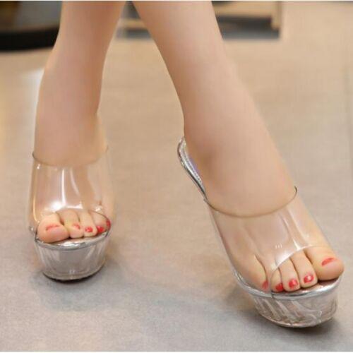 Women's Sandals Slippers Elegant Sabot Stiletto 14 cm White Clear CW292