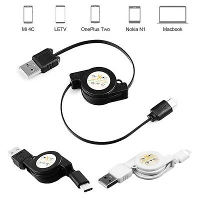 Retractable LED USB C Charging Cable