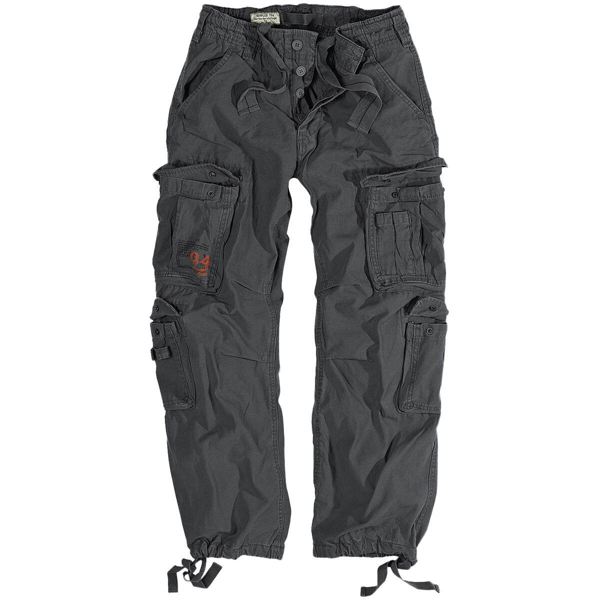 Surplus Airborne Vintage Trousers Mens Cotton Cargo Combat Trousers Anthracite