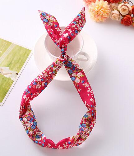 Fil serre-tête rétro wired head scarf rockabilly floral dot polka plain lapin