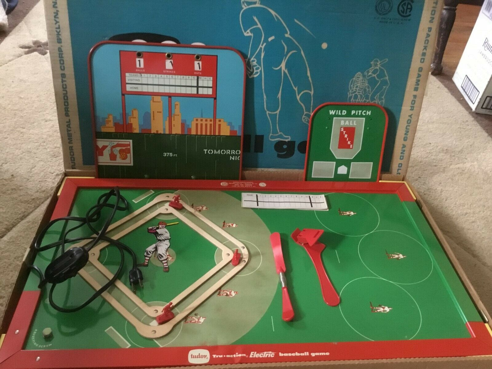 Vintage 1961 Tudor Tru-Action Electric Baseball Game  Near Complete WORKS