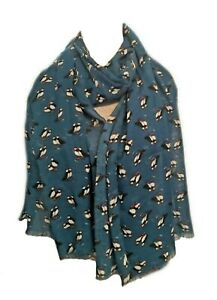 Blue-Puffin-Scarf-Black-White-Bird-Puffins-Gift-Scarves-Birds-Peony-Gift-Present