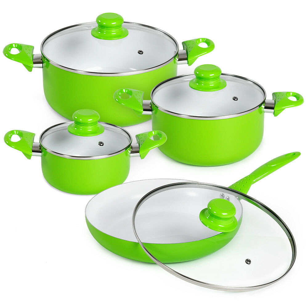 Set di pentole da 8 pezzi batteria padelle in ceramica cucina verde nuovo