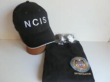 NCIS Badge on Black T-Shirt size  2XL 47/49 inch chest+NCIS Cap+Free sunglasses