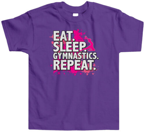 Eat Sleep Gymnastics Repeat Kids Toddler T-Shirt Tee Sport Slogan Compete