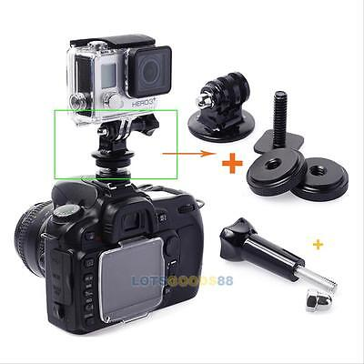 NEW 1/4 Hot Shoe Connecting Adapter + Tripod Mount Adapter for Gopro Hero 2 3 3+