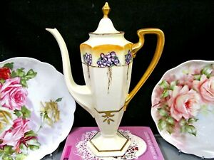 LIMOGES-FRANCE-tall-teapot-painted-chocolate-pot-with-violets-and-gold-gilt