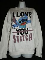 Disney Stitch I Love You Stitch White Sweatshirt -m- Free Shipping U.s.