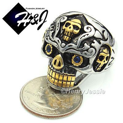 BIKER MEN Stainless Steel  Gold Silver Skull Face Ring Size 8-13*R77