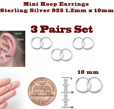 Mini Hoop Earrings Sterling Silver 925 1.2mm x 10mm 3 Pairs Set Super Small