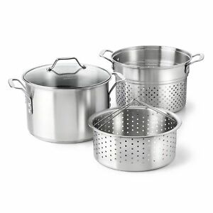 Calphalon Classic Stainless Steel 8 Quart Stock Pot With Steamer And Pasta