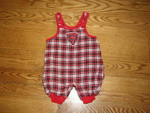 NEW Chicago Bears Romper Outfit Plaid Size 6//9M 6//9 Mo Boys Girls Baby Creeper