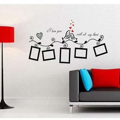 Bird + Photo Frame Family Kids Picture Sweet Home Wall Art Decal Sticker Decor