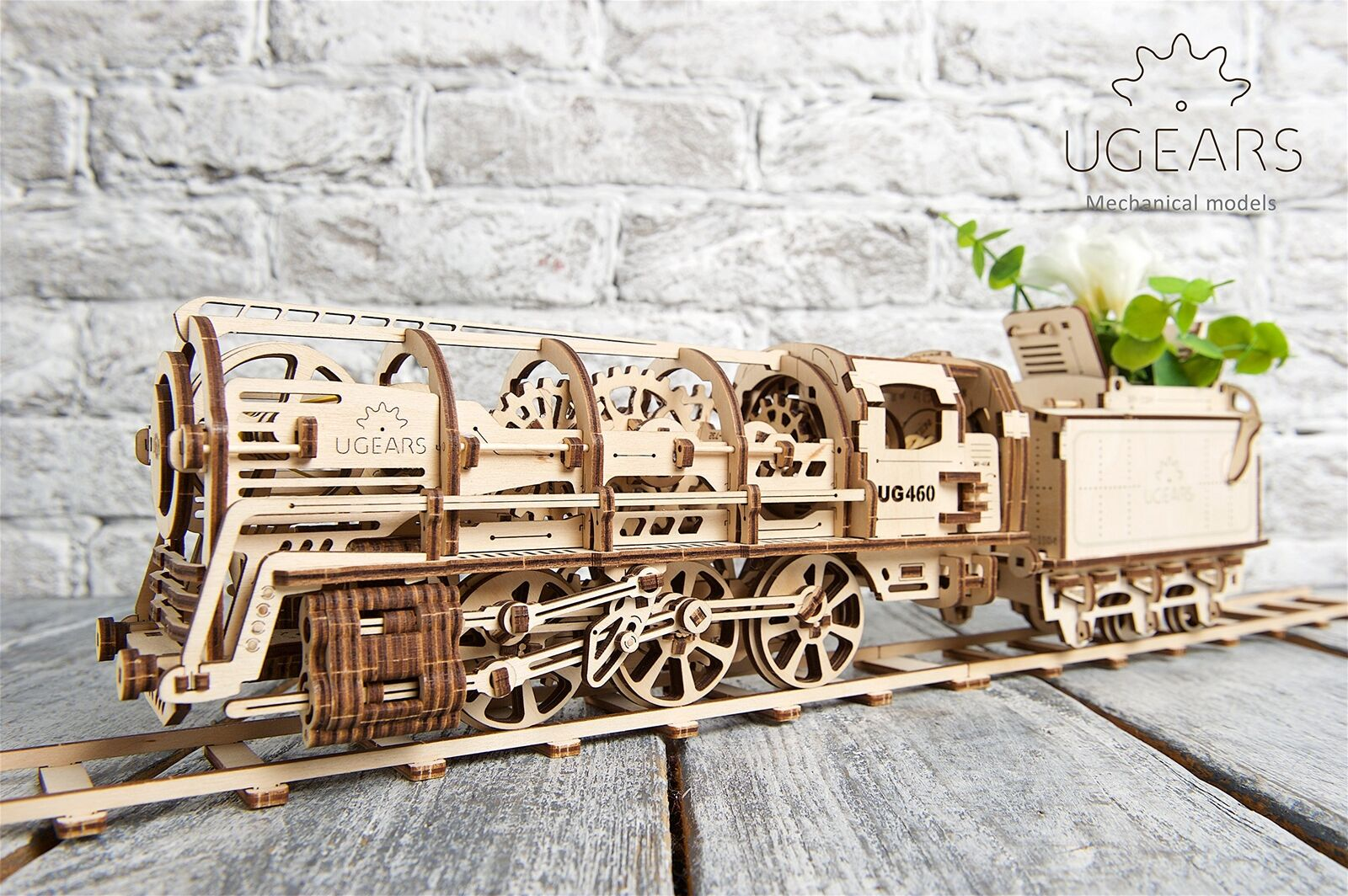 UGears Mechanical Models 3-D Wooden Puzzle - Mechanical Steam Locomotive Train