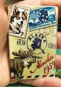 Alaska-Magnet-Metallic-Foil-Vintage-Postage-Theme-Alaska-Magnet-Moose-amp-Stamps