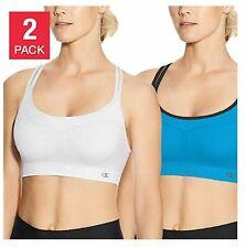Champion Women/'s 2-Pack Seamless Criss Cross Sports Bra Aqua//White S,M,L,XL
