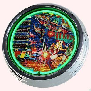 N-0706-Reloj-de-Pared-034-Pinball-Ataque-Playmatic-1980-034-Neonuhr-Cocina-Salon-Deco