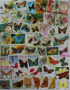BUTTERFLIES & Moths wonderful collection made up of 200 different stamps Lot#DP