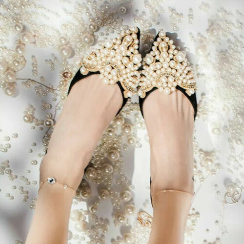 Details about  /2Pcs Pearl Rhinestones Flower Shoe Clip With Iron On Patch Badge Applique Crafts