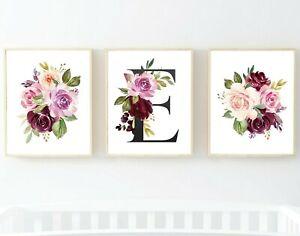 Monograma 3 Morado Ciruela Rosa Floral Decoración del cuarto de niños impresiones Boho 5x7 o 8x10, 622-A