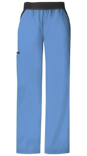 Cherokee Scrubs Pull On Mid Rise Cargo Pant 1031 Ciel Blue Cherokee Flexibles