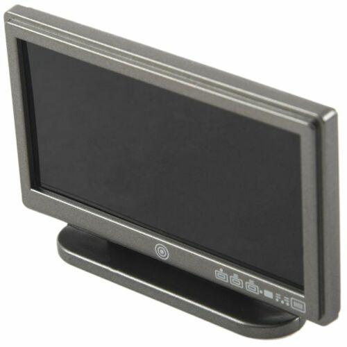Casa de muñecas en miniatura de pantalla ancha LCD TV de pantalla Plana Con Control Remoto Gris ss